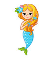 cute mermaid with a blue tail on a white vector image