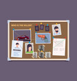 detective board police officer evidence photo vector image