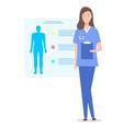 doctor or nurse with clipboard vector image