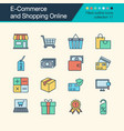 e-commerce and shopping online icons filled vector image vector image