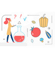 food cooking chef woman character and healthy vector image vector image