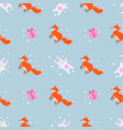 fun print cute seamless pattern with little foxes vector image vector image