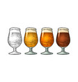 glass with different types beer - lager ale vector image
