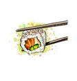 gunkan sushi with salmon vector image vector image