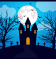 halloween background haunted house and full moon vector image