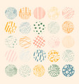 hand drawn set with round isolated abstract vector image