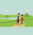 happy cute couple in the park vector image