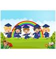 Happy little kids Graduation Celebration on rainbo vector image vector image