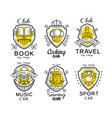 hobby club logo design set badges with heraldic vector image vector image