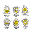 hobclub logo design set badges with heraldic vector image vector image