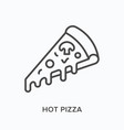 hot pizza flat line icon outline vector image vector image