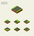 isometric way set of road plane asphalt and vector image vector image