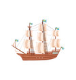 large wooden ship with beige sails and blue flags vector image