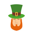 leprechaun in green hat face head with red beard vector image vector image
