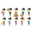 little asian girl set vector image
