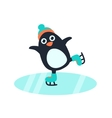 Little cute penguin in skates vector image vector image