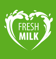 logo splashes of milk in the form of heart vector image vector image
