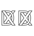 logo xd dx icon sign two interlaced letters x d vector image vector image