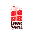 love you beautiful lettering vector image vector image