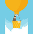 man in a hot air balloon planning summer vector image vector image