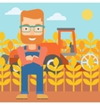 Man standing with combine on background vector image vector image