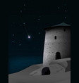 night landscape with ancient tower and vector image vector image