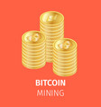 piles golden bitcoin coins on orange background vector image vector image