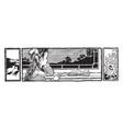 reading at window homework vintage engraving vector image vector image