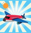 red airplane flying in sky vector image