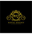 rq letter initial luxurious brand logo template vector image vector image