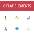 set of ceremony icons flat style symbols with vector image vector image