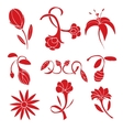 Set of red flower design elements vector image