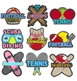 set sports emblems badges logos vector image