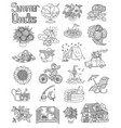 set with summer doodles vector image vector image