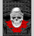 skull wearing bandana with rose vector image vector image