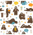Sloths drink coffee seamless pattern funny