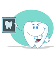 Tooth Character Holding Up A Dental X Ray Picture vector image