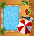 Top view of people sitting by the pool vector image vector image