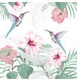 tropical vintage hibiscus plumeria floral pattern vector image vector image
