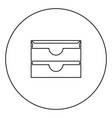 two stationary paper tray black icon in circle vector image vector image