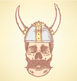 Viking Helmet Skull vector image