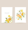 wedding invitation spring flowers leaves floral vector image vector image