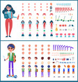 young teenagers boy and girl icons set vector image vector image