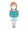 woman reading textbook character vector image