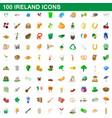 100 ireland icons set cartoon style vector image