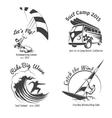 Vintage surfing labels and badges set vector image