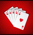 a royal flush of hearts on red background winning vector image vector image
