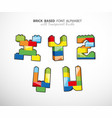 alphabet set created from playing bricks with vector image