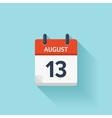 August 13 flat daily calendar icon Date vector image vector image