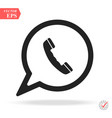 black phone handset in speech bubble icon vector image